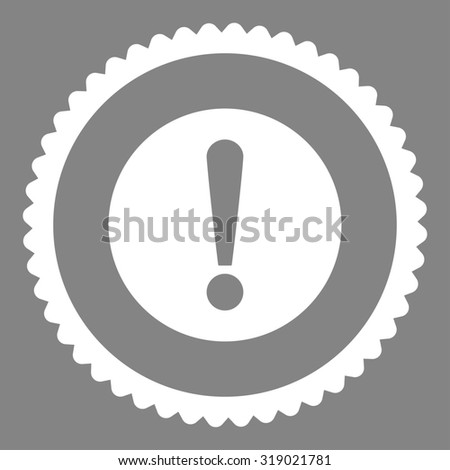 Problem round stamp icon. This flat glyph symbol is drawn with white color on a gray background. - stock photo
