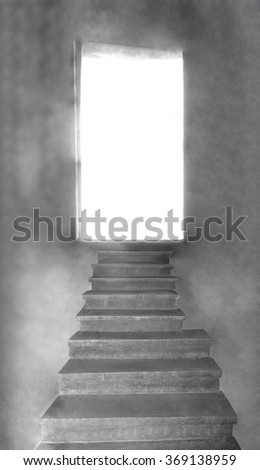 Problem solution concept with staircase leading to open door. Image or photo. Stairway to the light of heaven. - stock photo