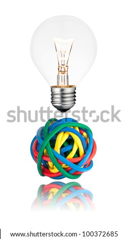 Problem Solution - Lightbulb with Ball of colored cables with reflection isolated on white background. - stock photo