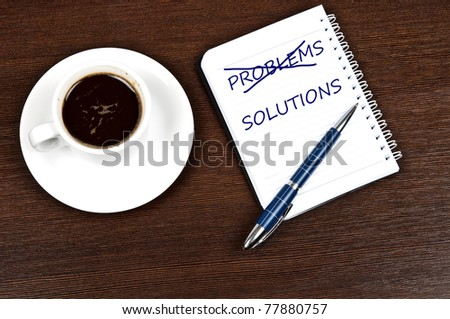 Problem solution message and coffee