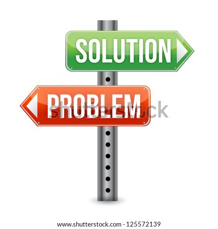 problem solution road sign illustration design over a white background