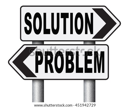 problem solution searching solutions by solving problems road sign 3D illustration, isolated, on white - stock photo
