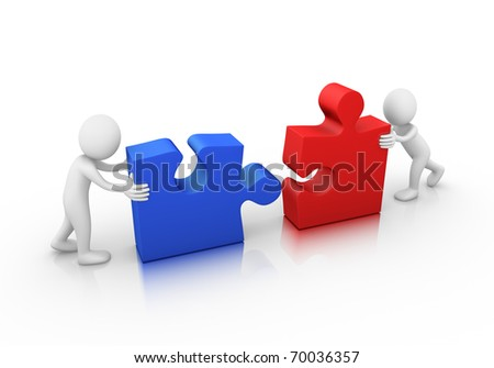 Problem solved! Two jigsaw puzzle pieces ready to be assembled - stock photo