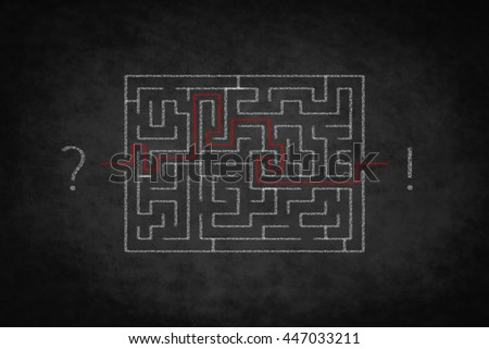 problem solving concept - question answer - labyrinth on chalkboard - stock photo