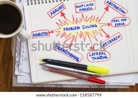 problem solving with sketch on notebook and coffee - stock photo