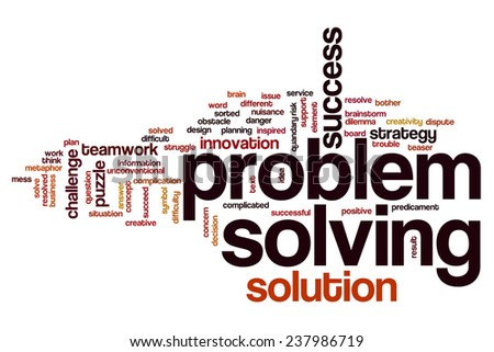 Problem solving word cloud concept - stock photo