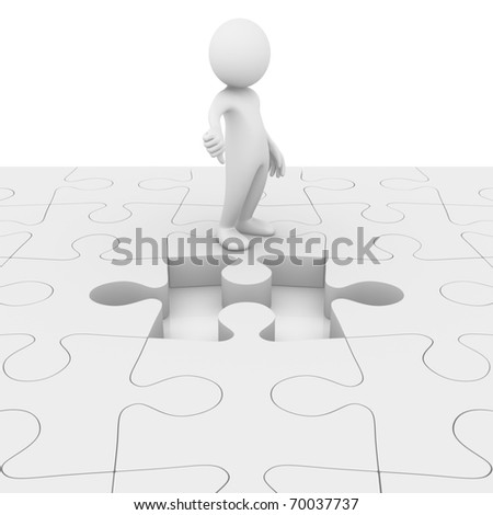 Problem unsolved! Missing puzzle jigsaw piece - stock photo