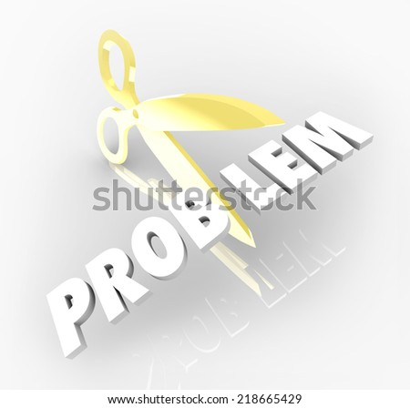 Problem word 3d letters scissors cutting out trouble issue solving challenge - stock photo
