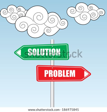 Problems and Solutions Direction sign over sky and cloud background - jpg. - stock photo