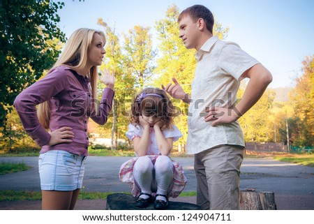 problems of a young family - stock photo