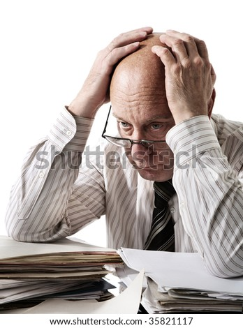 Problems of old accountant - stock photo