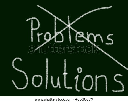 problems or solutions - stock photo