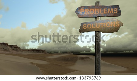 PROBLEMS-SOLUTIONS - stock photo
