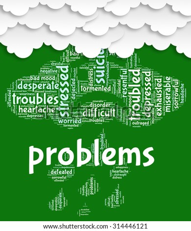 Problems Word Representing Difficult Situation And Words - stock photo