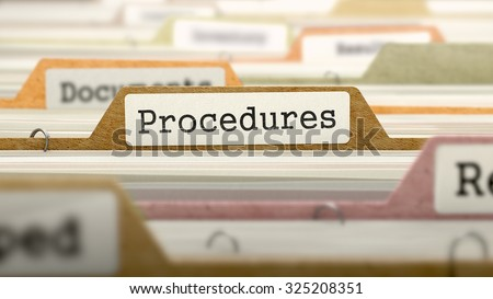 Procedures Concept on Folder Register in Multicolor Card Index. Closeup View. Selective Focus.
