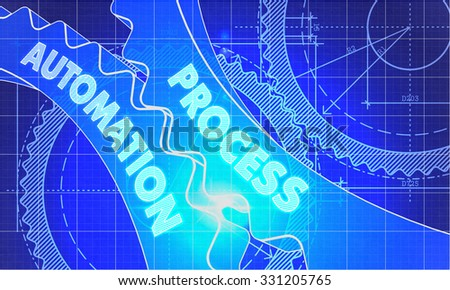 Process Automation on the Mechanism of Cogwheels. Blueprint Style. Technical Design. 3d illustration with Lens Flare. - stock photo