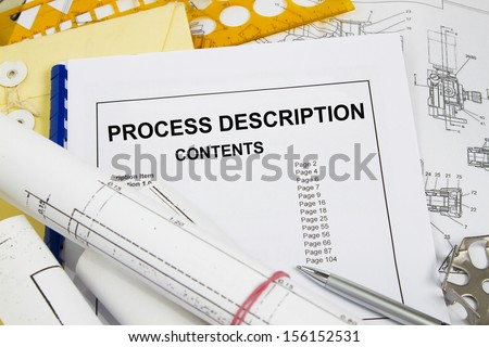 Process description brochure with blueprint and pencil - stock photo