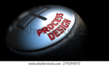 Process Design. Gear Shift with Red Text on Black Background. Selective Focus. 3D Render. - stock photo
