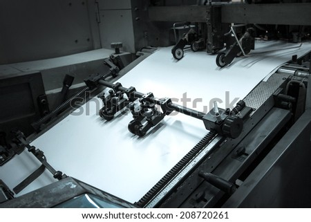 process in a modern printing house - stock photo