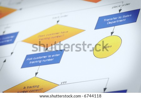 process management concept with colorful lighting, shallow dof - stock photo
