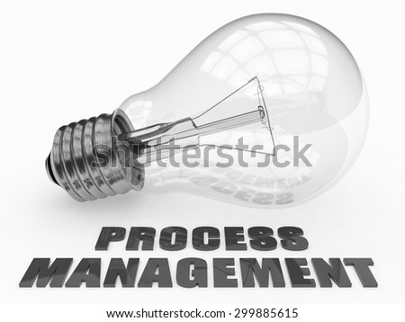 Process Management - lightbulb on white background with text under it. 3d render illustration. - stock photo