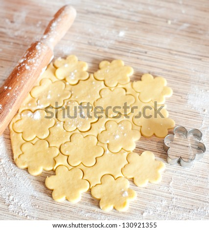 process of baking cookies at home - stock photo