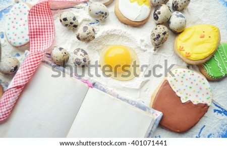 process of cooking  Easter cookies.spring concept