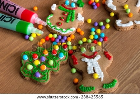 Process of decorating gingerbread cookies