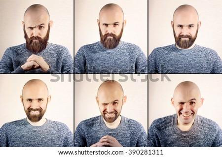 process of growing a beard - stock photo