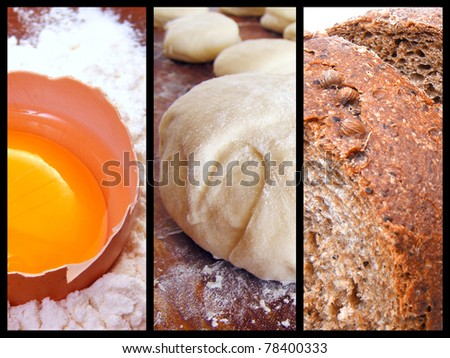 Process of making bread - stock photo