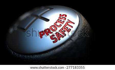 Process Safety. Control Concept. Gear Lever on Black Background. Close Up View. Selective Focus. 3D Render. - stock photo