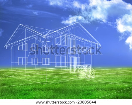 processed model of the building in 3D - stock photo