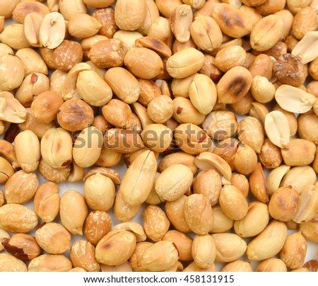 Processed peanuts isolated on background