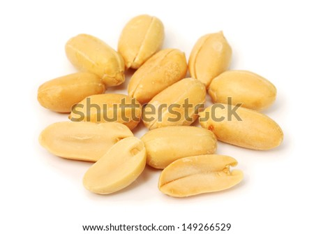 Processed peanuts isolated on white background  - stock photo