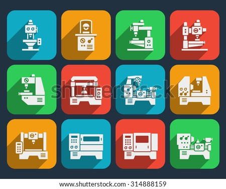 Processing and milling icons - stock photo