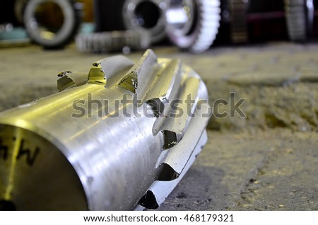 Processing of metal. Manufacture of a cogwheel on the machine tool. Metal machining.