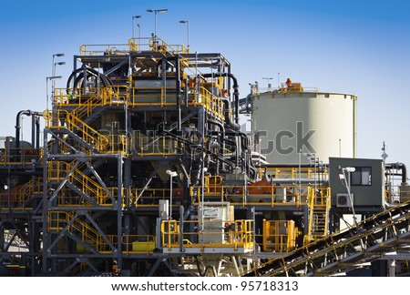 Processing Plant at Galaxy Lithium Mine in Ravensthorpe, Western Australia. Mechanical processing used to refine lithium spodumene concentrate. - stock photo