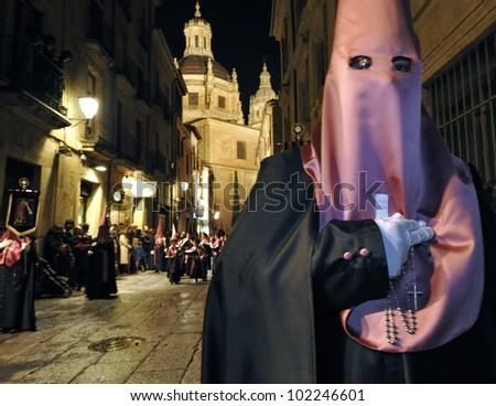 Procession during the Semana Santa in Salamanca, Spain.(this is the Holy week before Easter).The old city of Salamanca is an Unesco World Heritage site - stock photo