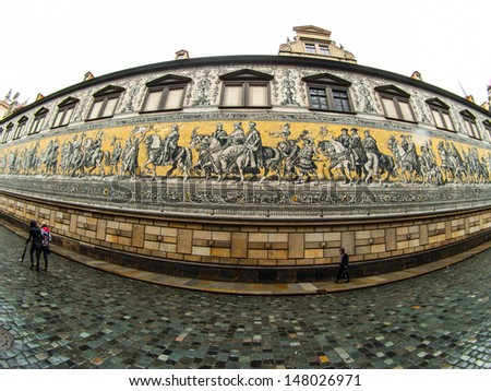Procession of Princes (Augustus Street, Dresden, Germany) - stock photo