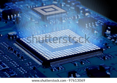 Processor and motherboard, circuit of high technology. - stock photo