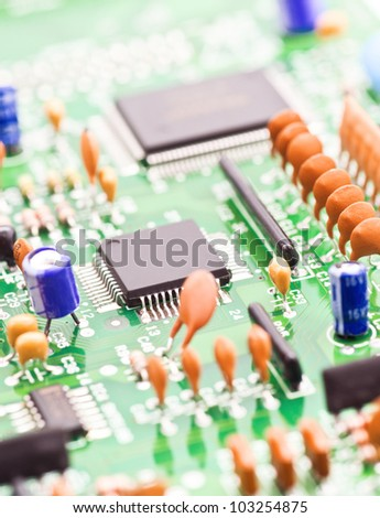 processor and other electronic components mounted on board - stock photo
