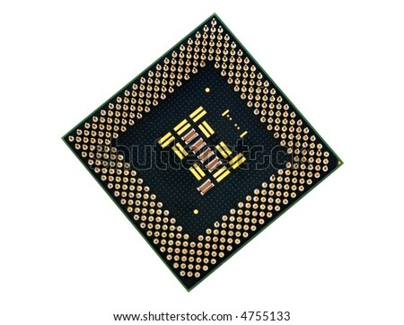 Processor chip isolated on white background - stock photo