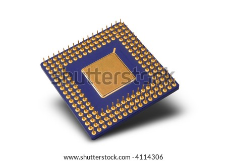 Processor chip isolated over a white background