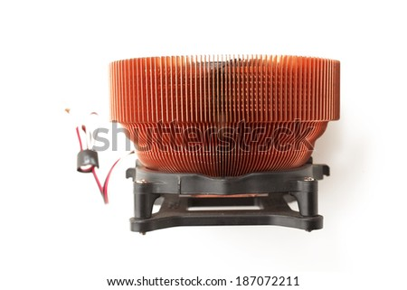 Processor heat sink cooler fan on white background - stock photo