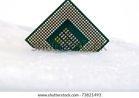 processor in ice on white background