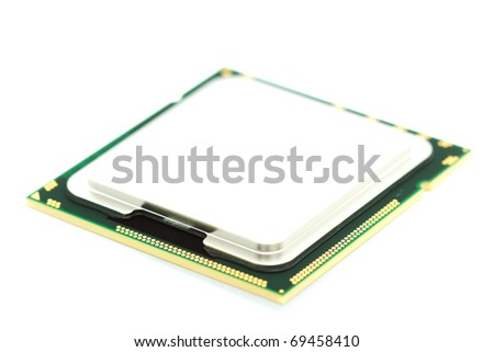 Processor isolated on white, focused on front of device - stock photo