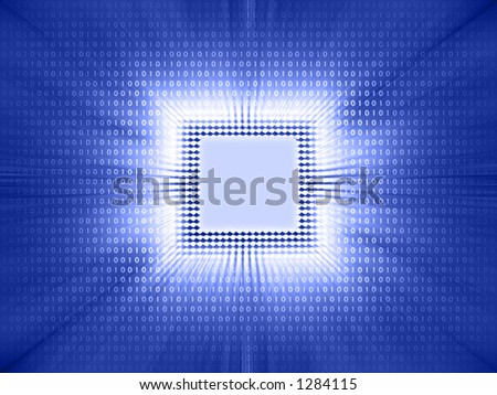 Processor of high technology. Binary code being emitted by the chip. - stock photo