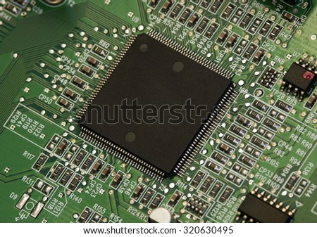 Processor on the circuit board with electronic components. Computer and networking communication technology concept.