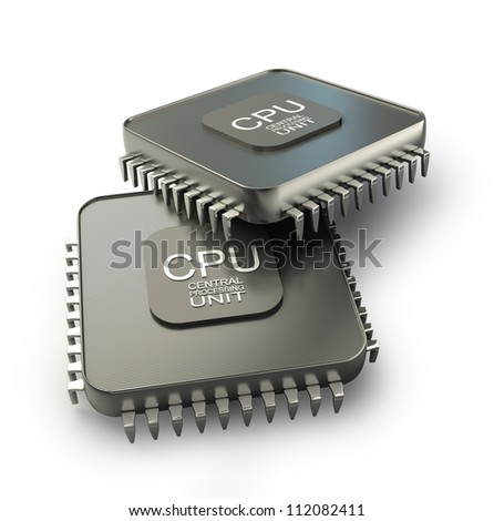 Processor unit concept isolated on white background 3d render - stock photo