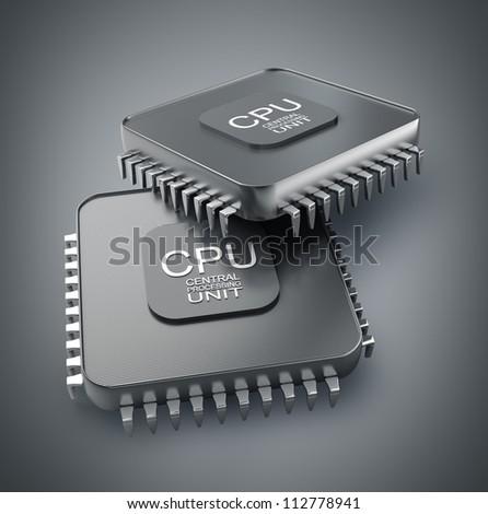 Processor unit CPU concept 3d render High resolution - stock photo
